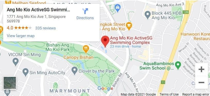 Ang Mo Kio Swimming Complex Map