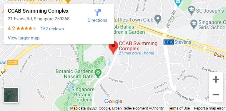 Bukit Timah CCAB Swimming Complex Map