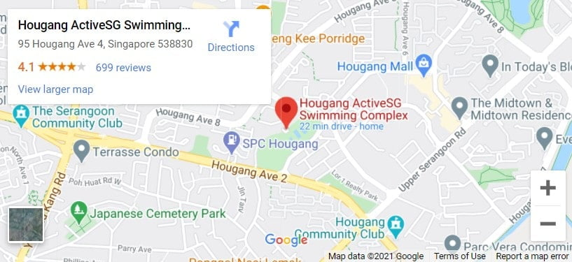 Hougang Swimming Complex Map