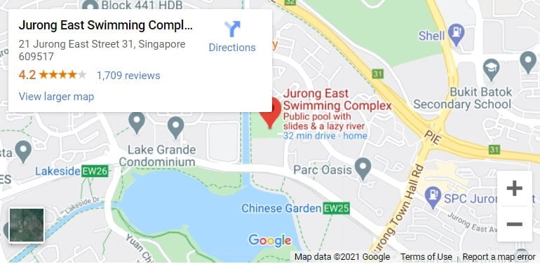 Jurong East Swimming Complex Map