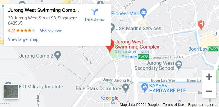 Jurong West Swimming Complex Map