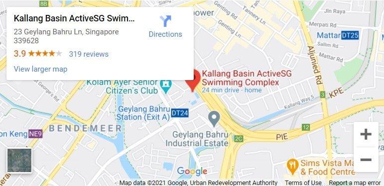 Kallang Basin Swimming Complex Map