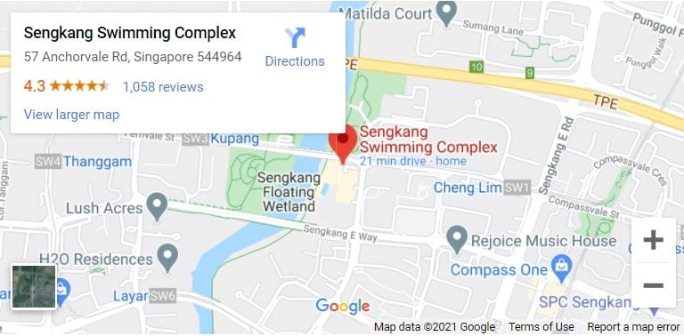 Sengkang Swimming Complex Map