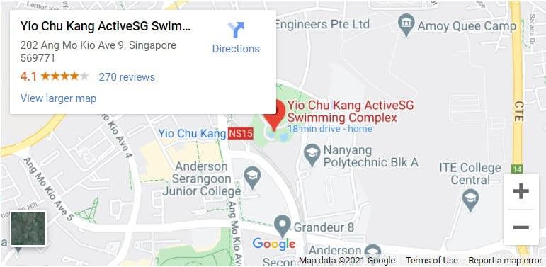 Yio Chu Kang Swimming Complex Map